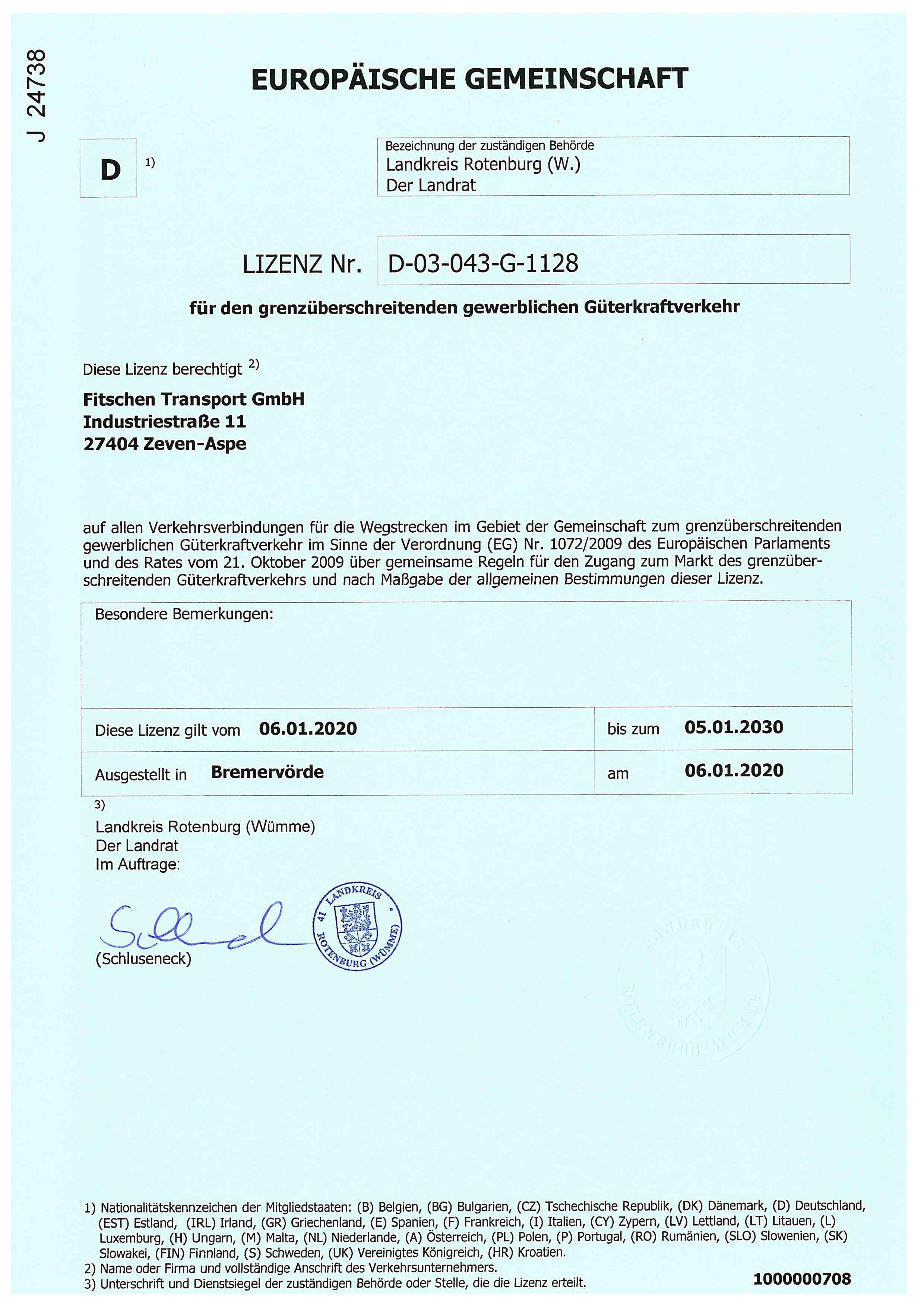 EU-Lizenz Fitschen Transport GmbH