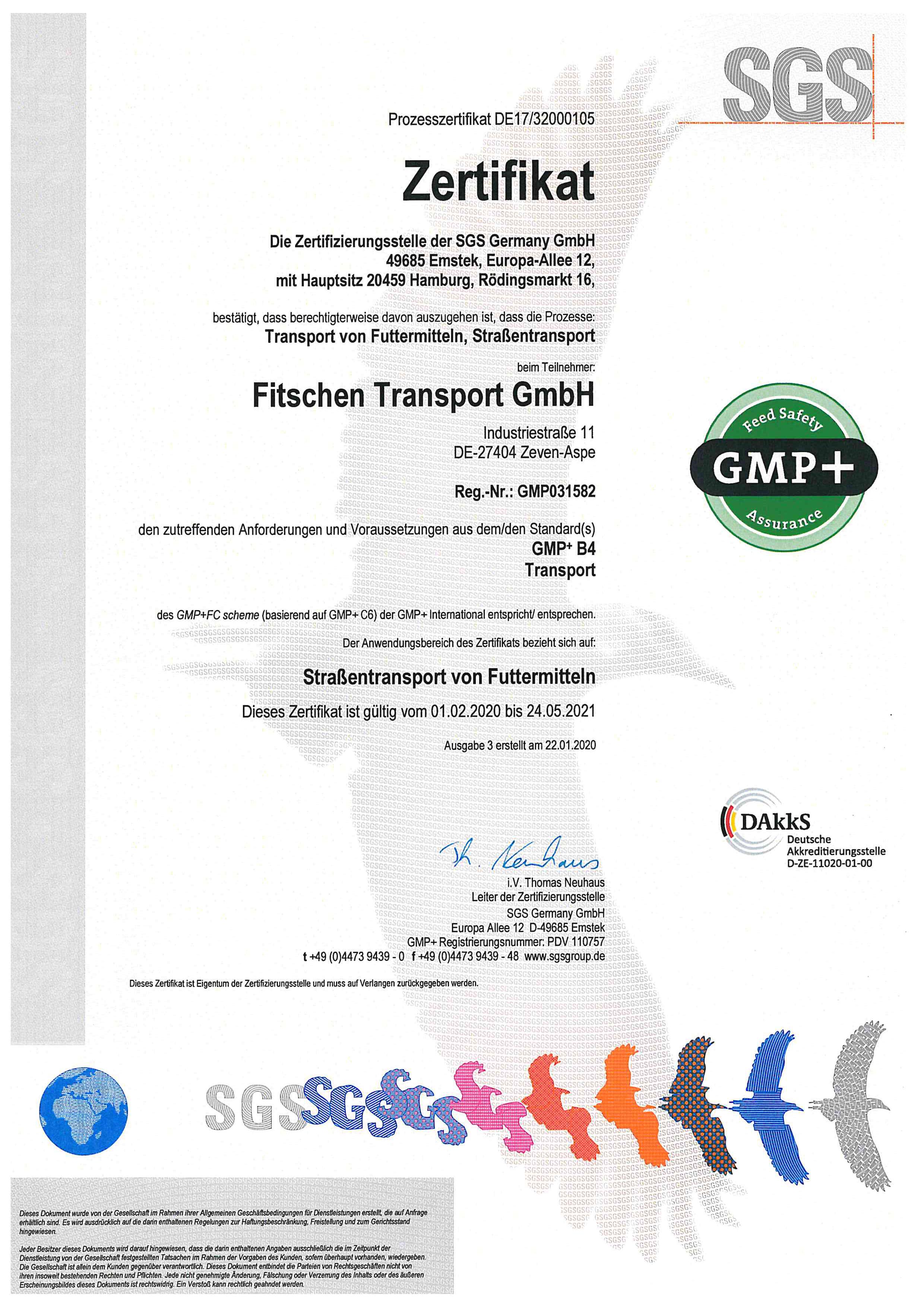 GMP Zertifikat Fitschen Transport GmbH