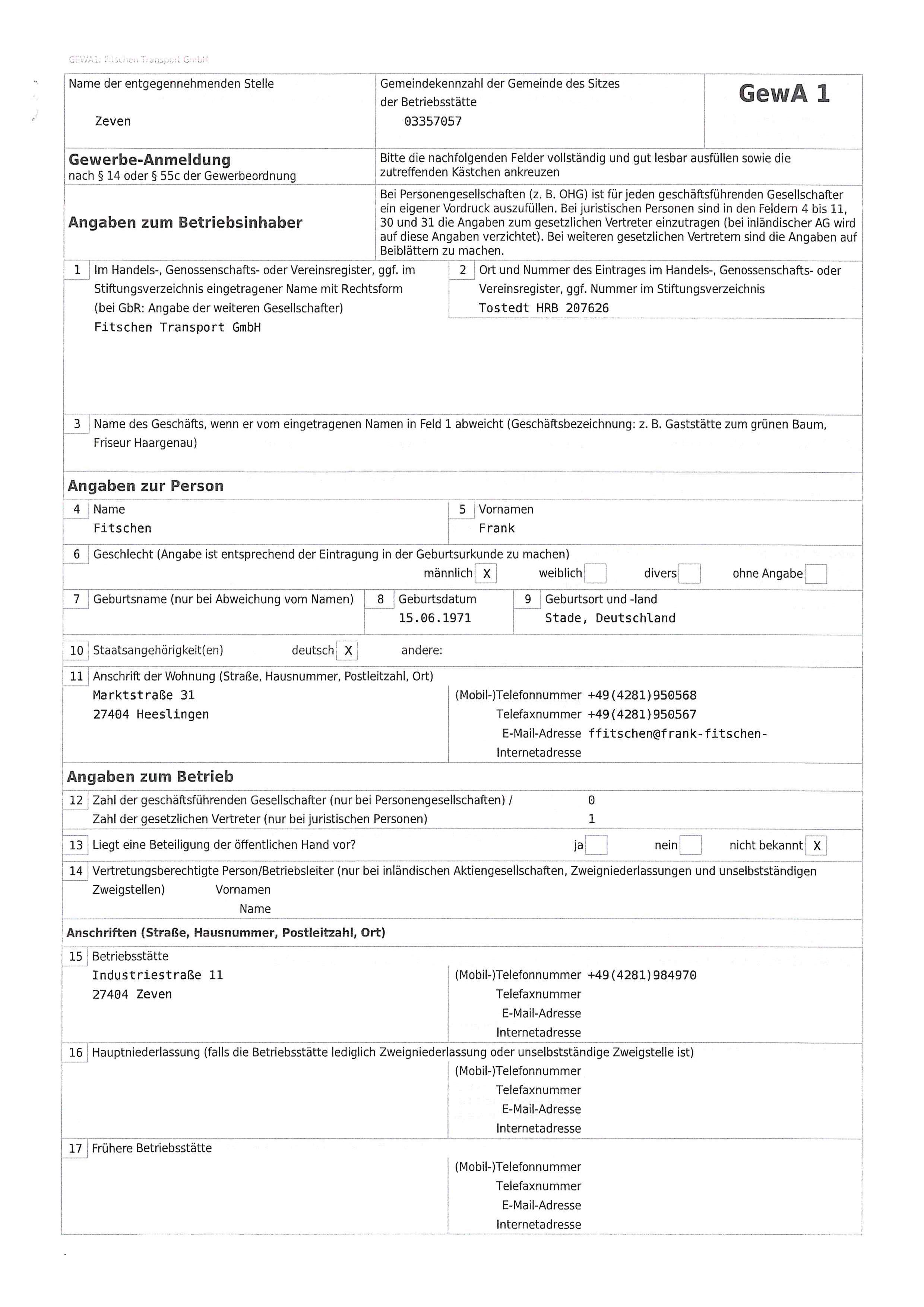 Gewerbeanmeldung Fitschen Transport GmbH_Seite_1