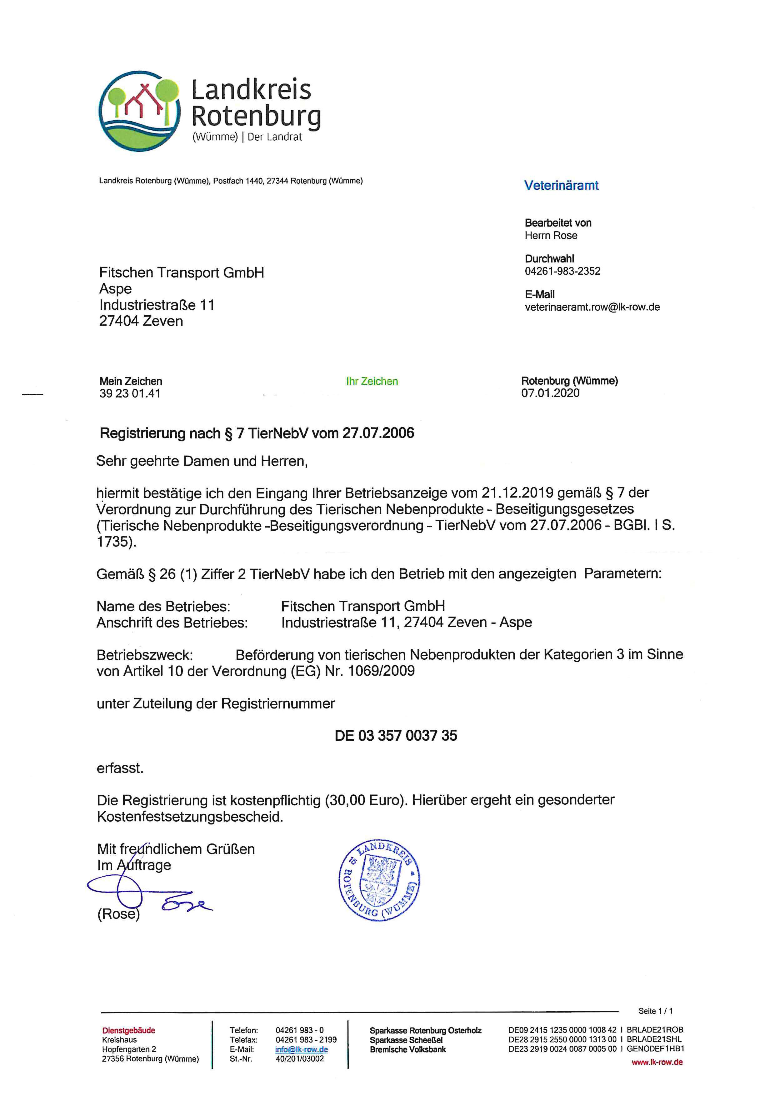 Registrierung nach § 7 TierNebV - KAT 3 Genehmigung